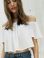 Women's Casual/Daily Street chic Summer / Fall Blouse,Solid Boat Neck Short Sleeve White / Black Polyester Opaque
