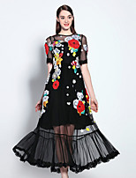 Boutique S Women's Going out Sophisticated Swing Dress,Embroidered Round Neck Maxi Short Sleeve Black Cotton