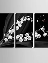Rectangulaire Moderne/Contemporain Horloge murale,Autres Toile 30 x 60cm(12inchx24inch)x3pcs/ 40 x 80cm(16inchx32inch)x3pcs