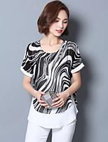 Women's Print Blue / Black Blouse,Round Neck Short Sleeve
