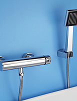Contemporary / Modern Shower Only Widespread with  Ceramic Valve Single Handle Two Holes for  Chrome , Shower Faucet