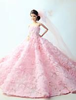 Poupée Barbie-Rose-Mariage-Robes- enOrganza / Dentelle