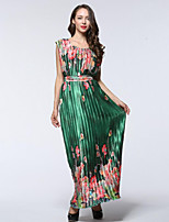 Women's Holiday / Plus Size Boho Chiffon Dress,Floral Round Neck Maxi Sleeveless Green Polyester Summer