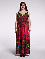 Women's Plus Size Boho Swing Dress,Print V Neck Maxi Sleeveless Polyester Spandex Summer High Rise Micro-elastic Medium