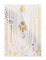 1pc Flash Tattoo Metallic Gold Silver Temporary Moon Feather Necklace Waterproof Tattoo Sticker YH-110