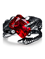 Ring,Steel Imitation Ruby / AAA Cubic Zirconia Vintage Party Jewelry Stainless Steel Band Rings 1pc,8 / 9 / 10 / 11 Black