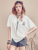 Aporia.As® Women's V Neck Short Sleeve Shirt & Blouse White-MZ04012