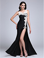 Formal Evening Dress Sheath / Column Jewel Floor-length Jersey with Appliques / Split Front