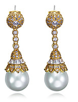 New Womens Earrings Platinum Plated and 18K Gold Plated White Cubic Zirconia & Imitation Pearls Drop Earrings Gift