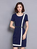 Women's Work / Plus Size Simple Shift Dress,Color Block Round Neck Above Knee Short Sleeve Blue / Black Polyester Summer