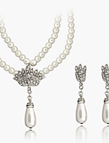Elegant White Pearl Drop Pendant Necklace & Earrings Jewelry Set with Crystal Crown