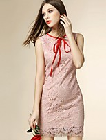 Angel Women's Going out Street chic Sheath Dress,Patchwork Round Neck Above Knee Sleeveless Polyester Summer