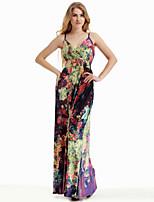 Women's Beach / Plus Size Boho Sheath Dress,Print Strap Maxi Sleeveless Purple Cotton / Polyester Summer