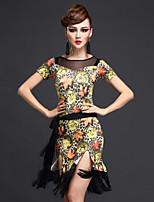 Latin Dance Dresses Women's Performance Tulle / Milk Fiber Pattern/Print 3 Pieces Green / Yellow / Coffee Short Sleeve