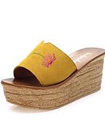 Women's Summer / Fall Slippers Suede Outdoor / Dress / Casual Flat Heel Satin Flower Black / Yellow / Green