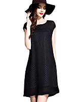 Women's Casual/Daily / Plus Size Street chic Sheath Dress,Polka Dot Round Neck Above Knee Short Sleeve Black Polyester Summer