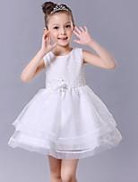 A-line Short/Mini Flower Girl Dress-Cotton / Organza / Satin Sleeveless