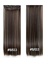 24inch 60cm de comprimento grampo de cabelo em linha reta em extensões do cabelo # 8/613 apliques sintéticos para mulheres bonitas