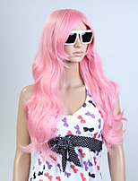 Capless Pink Color Long High Quality Natural Curly Hair Synthetic Wig