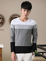 Men's Striped Casual T-Shirt,Cotton Long Sleeve-Black / Blue / White