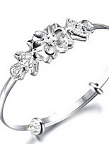 Fine Silver 925 Flower Adjustable Bangle Bracelet Jewerly for Lady
