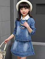 Girl's Casual/Daily Solid Dress / Jeans / Clothing Set,Rayon Spring / Fall Blue