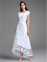 Lanting Bride Sheath / Column Wedding Dress Asymmetrical Scoop Lace with Lace