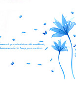 Classics Blue Fantasy Flowers Butterfly Removable Wall Stickers DIY Fashion Beautiful Bedroom TV Wall Decals