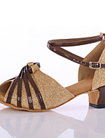 Women's Latin Paillette Heels Indoor Customized Heel Gold Customizable
