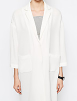 Women's Going out / Casual/Daily Vintage Trench Coat,Solid / Patchwork Shirt Collar Long Sleeve Spring