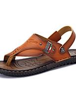 Sapatos Masculinos-Sandálias-Marrom-Napa Leather-Ar-Livre / Casual