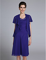 Lanting Bride® Sheath / Column Mother of the Bride Dress Knee-length Short Sleeve Chiffon with Beading
