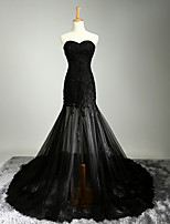 Formal Evening Dress A-line Sweetheart Chapel Train Satin / Tulle with Appliques / Beading