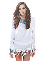 Women's Casual Beach Simple Chiffion Beach Tassels Spring Blouse,Solid Round Neck Long Sleeve