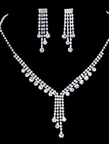 Silver Full-Crystal Flower Necklace Earrings Jewelry Set for Lady Wedding Party