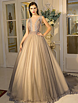 Formal Evening Dress Ball Gown Jewel Court Train Lace / Tulle with Crystal Detailing / Draping / Lace / Side Draping