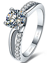 1CT SONA Simulated Diamond Ring 4Prongs Setting Hearts and Arrows Stone Sterling Silver Engagement Ring for Women Pt950
