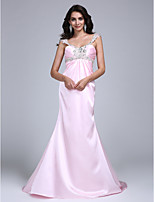 A-line Wedding Dress Court Train Straps Stretch Satin with Beading / Crystal / Side-Draped