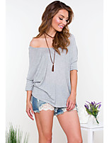 Women's Casual/Daily Simple Summer Blouse,Solid Round Neck ¾ Sleeve Gray Cotton Thin