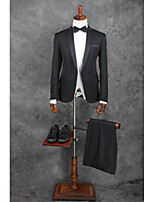 Suits Standard Fit Notch Single Breasted One-button Polyester Solid 2 Pieces Black Straight Flapped