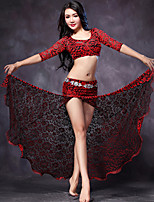 Belly Dance Outfits(Tops+Skirts+Shorts) Women's Performance Split Front 3 Pieces Fuchsia / Red Colors No Waist Chain