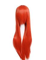 prezzo a buon mercato ad alta temperatura di colore arancione cosplay parrucca sintetica 80cm giovani lunghe parrucche diritte