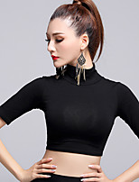 Latin Dance Tops Women's Performance Modal Pleated 1 Piece Black Performance Half Sleeve Natural Top