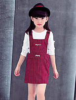 Girl's Casual/Daily Striped Dress,Rayon Spring / Fall Black / Red