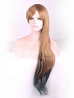 Long Length Brown Mix Black Color Natural Wave Daily Wear Women Fashion Wigs Cosplay Style