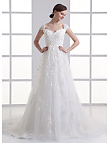 A-line Wedding Dress-Court Train Off-the-shoulder Organza