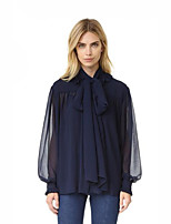 Women's Casual/Daily Street chic Fall Blouse,Solid Crew Neck Long Sleeve Blue Polyester Medium