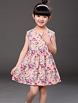 Girl's Casual/Daily Print Dress,Cotton Summer Blue / Pink / Yellow