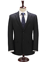 Suits Slim Fit Notch Single Breasted Two-buttons Cotton Blend Solid 2 Pieces  Straight Flapped