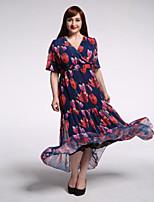 Women's Beach / Plus Size Boho Swing Dress,Print V Neck Maxi Short Sleeve Blue / Red Polyester Summer